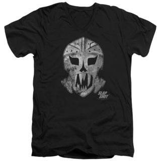 Slap Shot/Goalie Mask Short Sleeve Adult V-Neck in Black