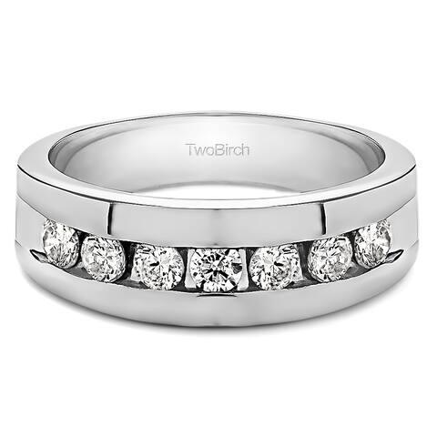 TwoBirch 10k White Gold Men's 1/4ct TDW Diamond Channel Set Ring