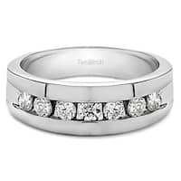 TwoBirch 10k White Gold Men's 1/4ct TDW Diamond Channel Set Ring