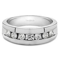 TwoBirch 10k White Gold Men's 3/4ct TDW Diamond Channel-set Ring