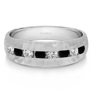 TwoBirch 10k White Gold Channel Set Men's Band with Hammered Finish With Black And White Diamonds