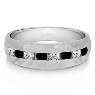 Sterling Silver Men's 1/2ct TDW Black and White Diamond Channel-set Hammered Ring (G-H, I1-I2)