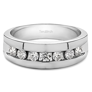 14k White Gold Men's 1/4ct TDW Diamond Channel-set Ring (G-H, I2-I3)
