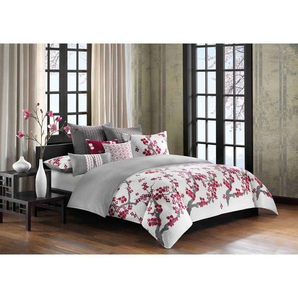 N Natori Cherry Blossom Multi Cotton Duvet Cover Set