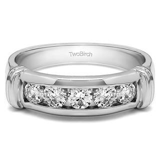TwoBirch 10k Gold Men's 2/5ct TGW Moissanite Wedding Ring