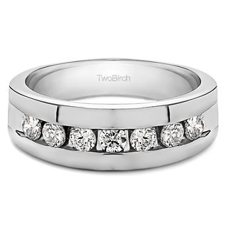14k White Gold Men's 3/4ct TDW Diamond Open-ended Ring Channel-set Ring (G-H, I1-I2)