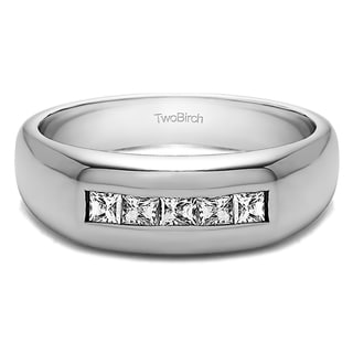 10k White Gold Men's 1/2ct TDW Princess-cut White Diamond Wedding Ring (G-H, SI1-SI2)