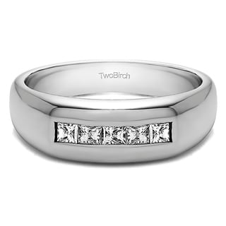 TwoBirch 14k White Gold Men's 1 1/2ct TDW Diamond Princess Cut Channel-set Wedding Ring