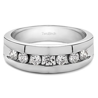 Sterling Silver Channel Set Men's Ring with Open End Design With Diamonds (G-H,I2-I3) (0.25 Cts., G-H, I2-I3)