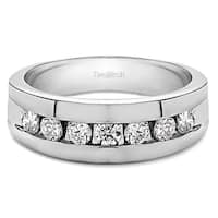 TwoBirch Sterling Silver Channel Set Men's Ring with Open End Design With Diamonds (0.25