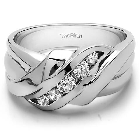 TwoBirch Sterling Silver Men's Wedding Ring with Created Moissanite (0.22, Cts)
