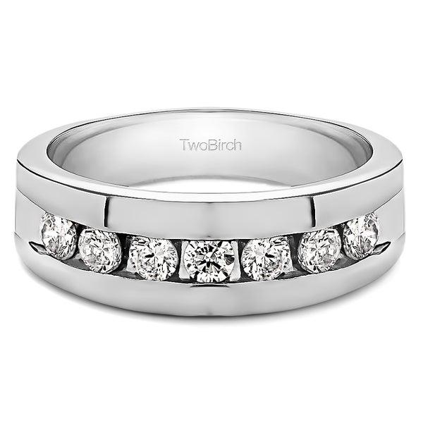 TwoBirch Sterling Silver Channel Set Men's 1/4ct TGW Sapphire Ring
