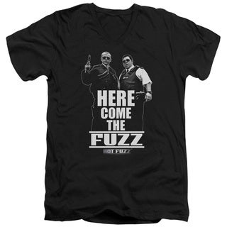 Hot Fuzz/Here Come The Fuzz Short Sleeve Adult V-Neck in Black
