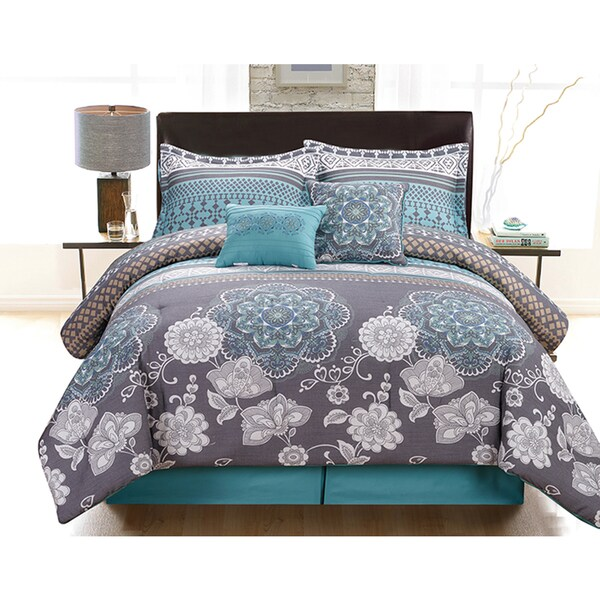 Lorelei 6-piece Oversized and Overfilled Linen Touch King-size Comforter Set