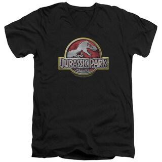 Jurassic Park/Logo Short Sleeve Adult V-Neck in Black