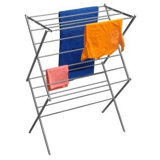 YBM Home #1622-11 Steel 2-tier Water-resistant Deluxe Foldable Clothes Drying Rack - Silver