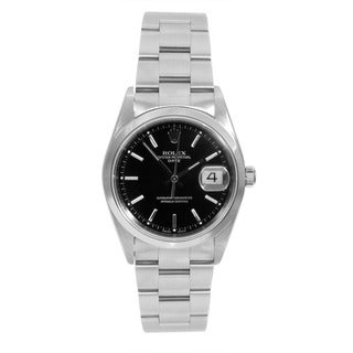 Pre-Owned Rolex Stainless Steel Air-king with a Black Stick Dial and Smooth Bezel.