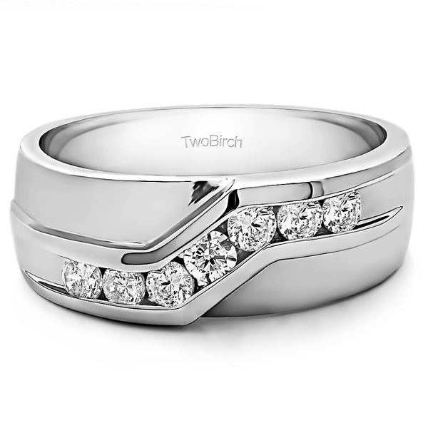 TwoBirch Sterling Silver Menx27s Wedding Ring With Forever Brilliant Moissanite By