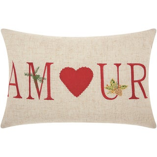 Mina Victory Home for the Holiday Amour Natural Throw Pillow (12-inch x 18-inch) by Nourison