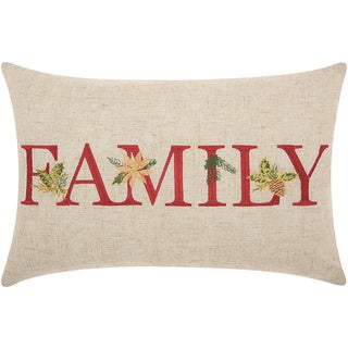 Mina Victory Home for the Holiday Family Natural Throw Pillow (12-inch x 18-inch) by Nourison