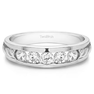 Sterling Silver Men's Wedding Ring with Forever Brilliant Moissanite by Charles Colvard (0.25, Cts)