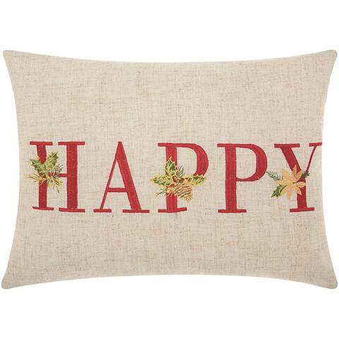 Mina Victory Home for the Holiday Happy Natural Throw Pillow by Nourison (12-Inch X 16-Inch)