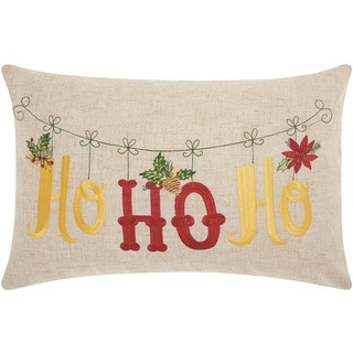 Mina Victory Home for the Holiday Ho Ho Ho Natural Throw Pillow (12-inch x 18-inch) by Nourison