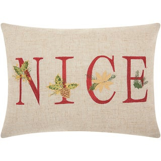 Mina Victory Home for the Holiday Nice Natural Throw Pillow by Nourison (12-Inch X 16-Inch)