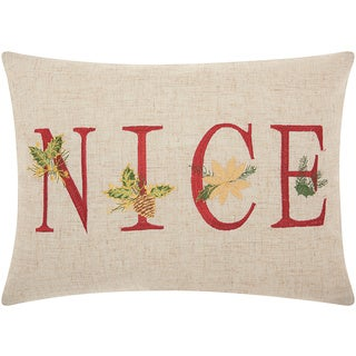 Mina Victory Home for the Holiday Nice Natural Throw Pillow (12-inch x 16-inch) by Nourison