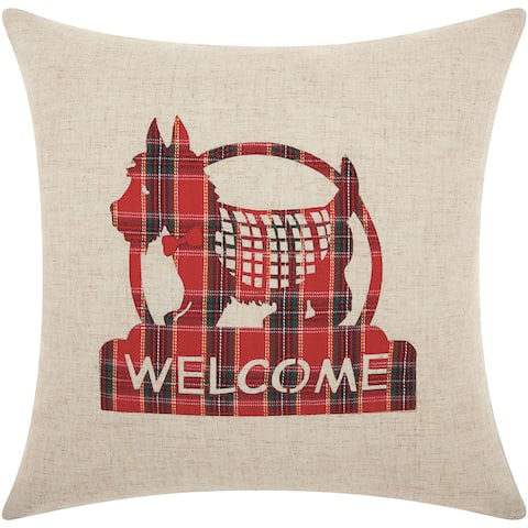 Mina Victory Home for the Holiday Welcome Scottie Natural Throw Pillowby Nourison (17-Inch X 17-Inch)