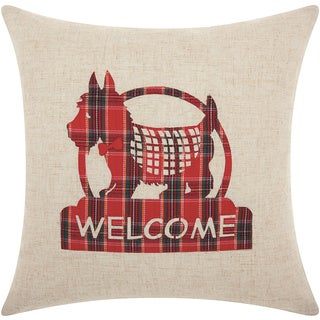 Mina Victory Home for the Holiday Welcome Scottie Natural Throw Pillow (17-inch x 17-inch) by Nourison