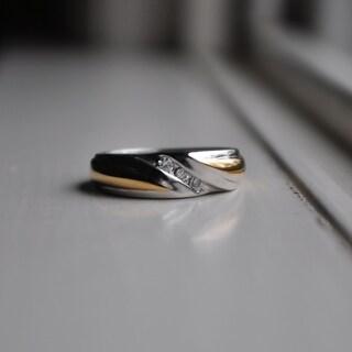 TwoBirch 14k Gold Men's 1/6ct TGW Moissanite Wedding Ring