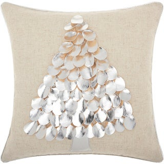 Mina Victory Home for the Holiday Metallic Tree Silver Throw Pillow (16-inch x 16-inch) by Nourison