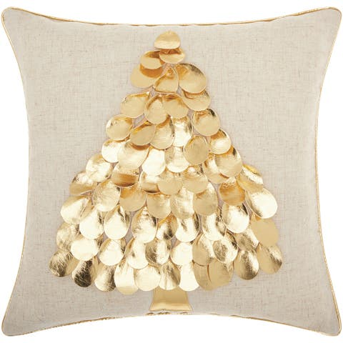Mina Victory Home for the Holiday Metallic Tree Gold Throw Pillowby Nourison (16-Inch X 16-Inch)