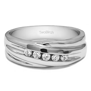 Charles Colvard 10k Gold Men's 1/4ct TGW Moissanite Wedding Ring