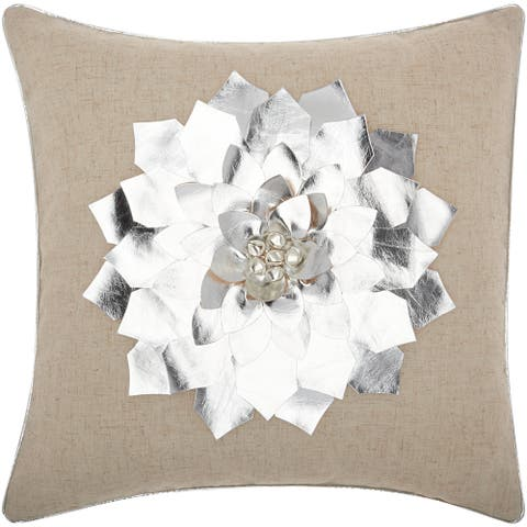 Mina Victory Home for the Holiday Metallic Poinsettia Silver Throw Pillowby Nourison (16-Inch X 16-Inch)