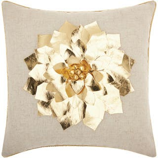 Mina Victory Home for the Holiday Metallic Poinsettia Gold Throw Pillowby Nourison (16-Inch X 16-Inch)