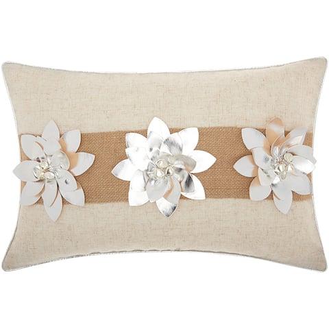 Mina Victory Metallic Silver Poinsettias SilverThrow Pillow by Nourison (12-Inch X 18-Inch)