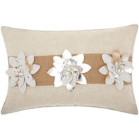 Mina Victory Metallic Silver Poinsettias SilverThrow Pillow by Nourison (12-Inch X 18-Inch)