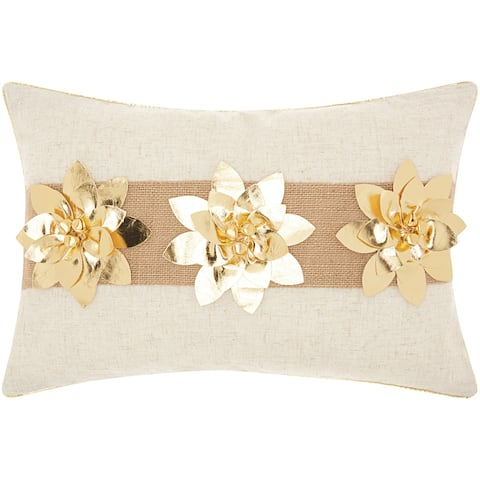 Mina Victory Metallic Gold Holiday PoinsettiasThrow Pillow by Nourison (12-Inch X 18-Inch)