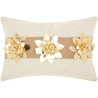Mina Victory Home for the Holiday Three Metallic Poinsettias Gold Throw Pillow (12-inch x 18-inch) by Nourison