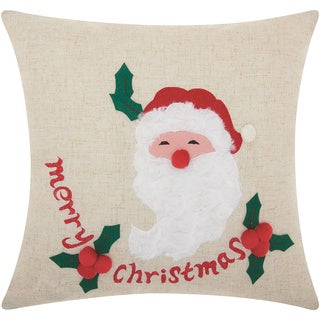 Mina Victory Home for the Holiday Merry Santa Natural Throw Pillow (16-inch x 16-inch) by Nourison