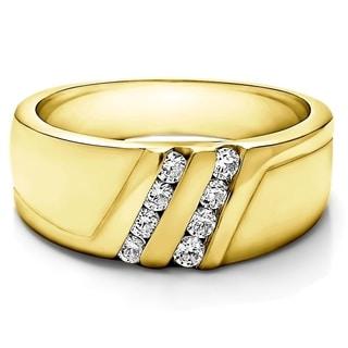 Charles Colvard Sterling Silver Men's 1/3ct TGW Moissanite Wedding Ring