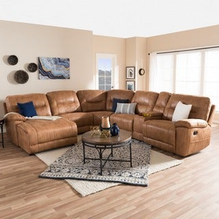 Baxton Studio Eukleides Modern and Contemporary Light Brown Palomino Suede 6-Piece Sectional with Recliners Corner Lounge Suite