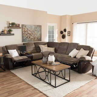 Baxton Studio Eudne Modern and Contemporary Taupe Fabric and Brown Faux Leather Two-Tone Sectional Sofa
