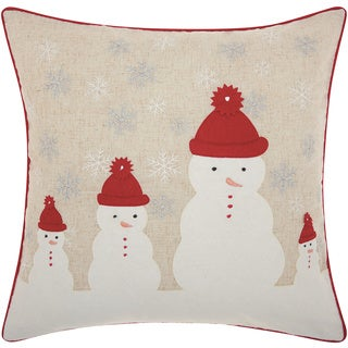 Mina Victory Home for the Holiday Four Snowmen Natural Throw Pillow (18-inch x 18-inch) by Nourison