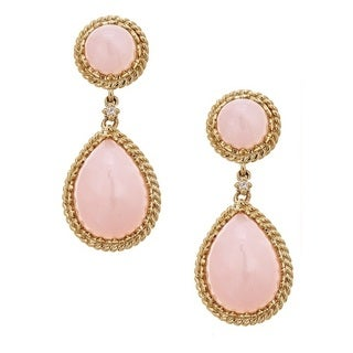 Anika and August 14k Yellow Gold Pink Opal and Diamond Accent Earrings