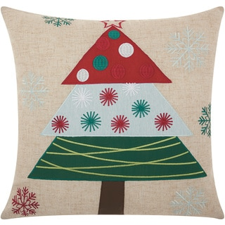 Mina Victory Home for the Holiday Festive Holiday Tree Natural Throw Pillow (18-inch x 18-inch) by Nourison
