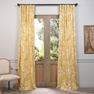 "Exclusive Fabrics Edina Printed Cotton Curtain Panel 84""L in Rust (As Is Item)"