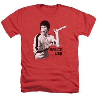 Bruce Lee/Nunchucks Adult Heather T-Shirt in Red